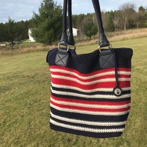 THE SAK New Cambria Crochet Striped Handbag